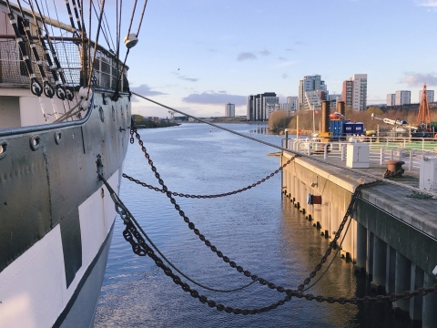 Tall Ship im Hafen in Glasgow